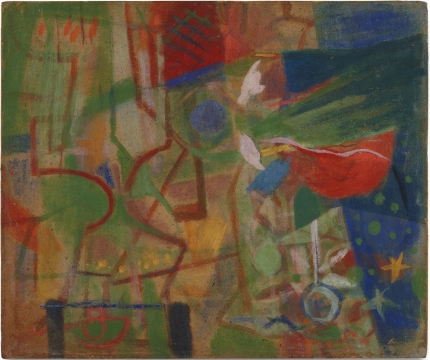 abstract painting with green and red and blue