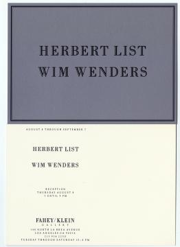 Herbert List / Wim Wenders