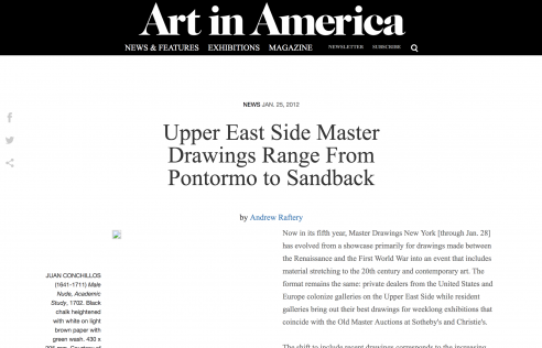 Review in Art in America: Upper East Side Master Drawings Range From Pontormo to Sandback, January 2012