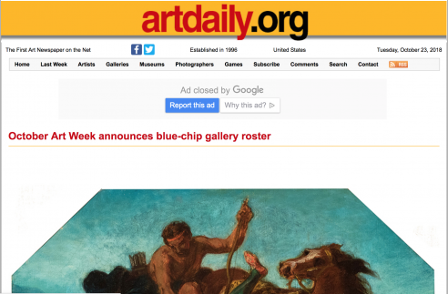 Review on Artdaily: October Art Week announces blue-chip gallery roster, October 2018