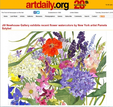 Review in Artdaily: Jill Newhouse Gallery exhibits recent flower watercolors by New York artist Pamela Sztybel, December 2016