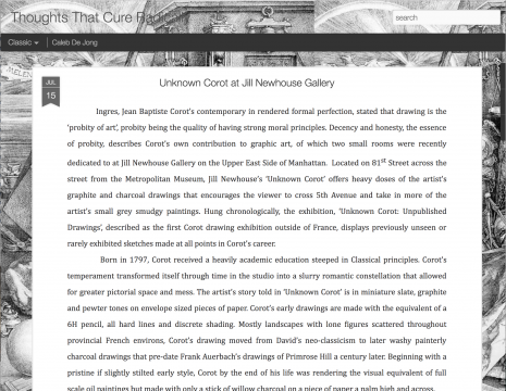 Review on Caleb De Jong's blog Thoughts That Cure Radically: Unknown Corot at Jill Newhouse Gallery, July 2012