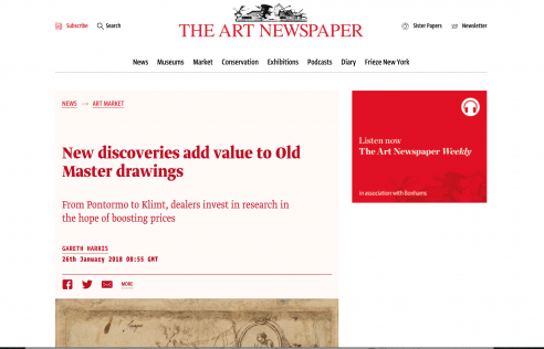 Feature in The Art Newspaper: New discoveries add value to Old Master drawings, January 2018