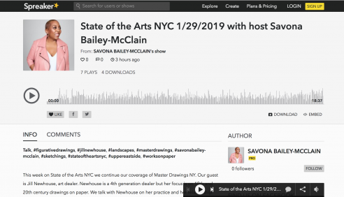 Radio Show: Jill Newhouse on The State of the Arts with host Savona Bailey-McLain, January 2019
