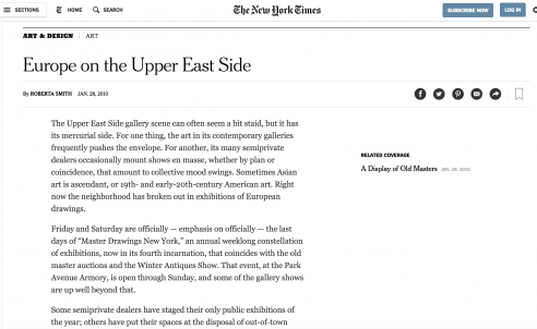 Mention in the New York Times: Europe on the Upper East Side, January 2010