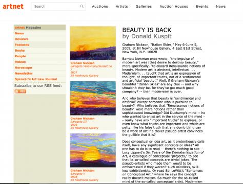 Review in Artnet Magazine: Beauty Is Back, June 2009