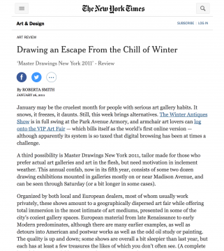 Review in the New York Times: Drawing an Escape From the Chill of Winter, January 2011