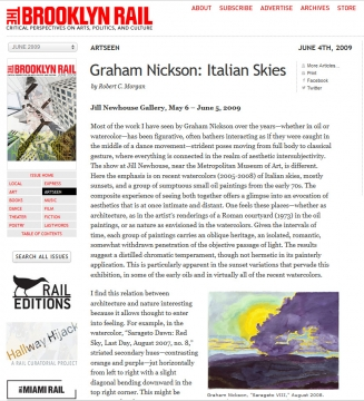 Review in the Brooklyn Rail: Graham Nickson, Italian Skies, June 2009