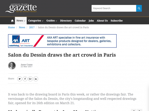 Mention in Antiques Trade Gazette: Salon du Dessin draws the art crowd in Paris, March 2017