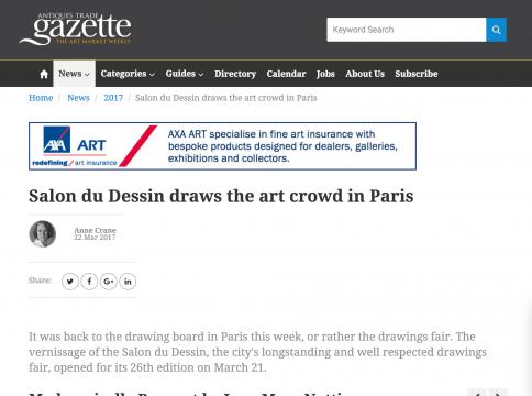 Mention in Antiques Trade Gazette: Salon du Dessin draws the art crowd in Paris, March 2017