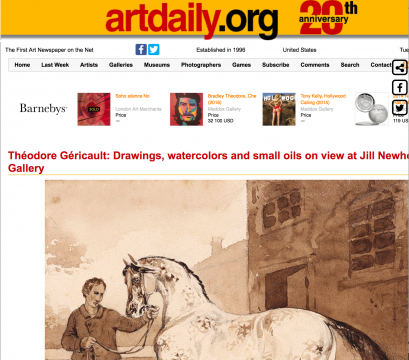 Review in Artdaily: Théodore Géricault: Drawings, watercolors and small oils on view at Jill Newhouse Gallery, July 2014