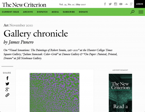 Review in The New Criterion: November 2010 Gallery Chronicle, November 2010