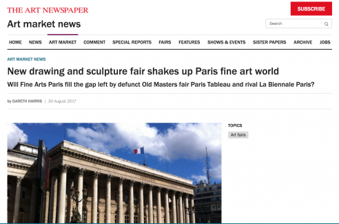 Mention in The Art Newspaper: New drawing and sculpture fair shakes up Paris fine art world, August 2017
