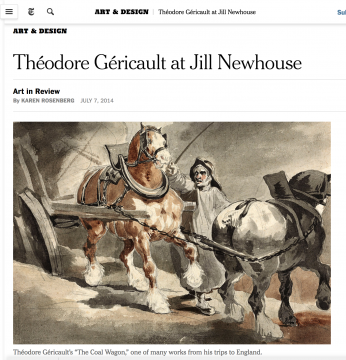 Review in the NYT: Théodore Géricault at Jill Newhouse, July 2014