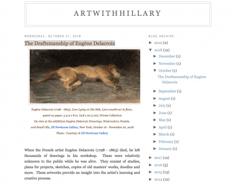 Review in ArtWithHillary: The Draftsmanship of Eugène Delacroix, October 2018