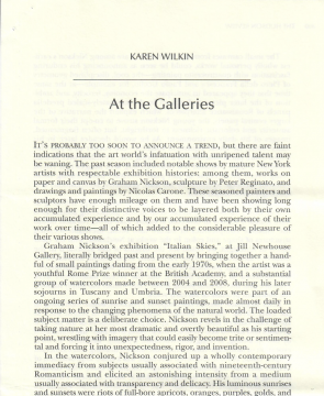 Review in the The Hudson Review Vol. LXII, No, 3: At the Galleries, Autumn 2009