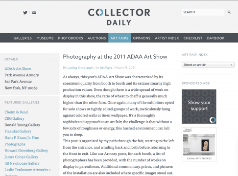 Mention in DLK Collection: Photography at the 2011 ADAA Art Show, March 2011