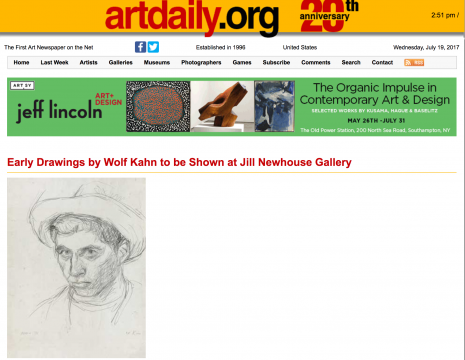 Review in Artdaily: Early Drawings by Wolf Kahn to be Shown at Jill Newhouse Gallery, November 2009