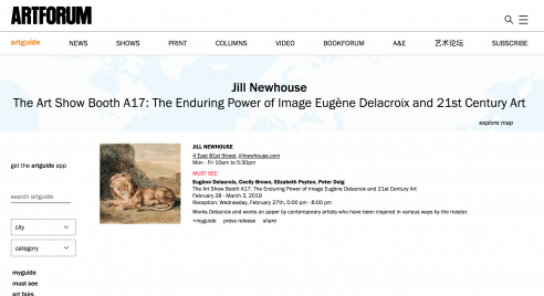 Artforum MUST SEE pick: Jill Newhouse Gallery at the ADAA The Art Show, February - March 2019