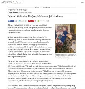 Review in Artnews: Interior Monologues: Édouard Vuillard at The Jewish Museum, Jill Newhouse, July 2012