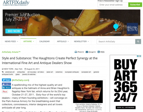 Review on ArtFix Daily Artwire: Style and Substance: The Haughtons Create Perfect Synergy at the International Fine Art and Antique Dealers Show, August 2011