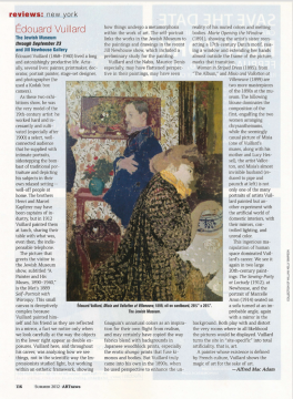 Review on ArtNews: Édouard Vuillard, June 2012