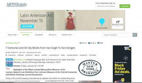 Review in Artfixdaily: 7 Centuries and 36 City Blocks from Van Gogh To Van Dongen, January 2019