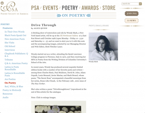 Article on Poetry Society of America: Drive Through, October 2011