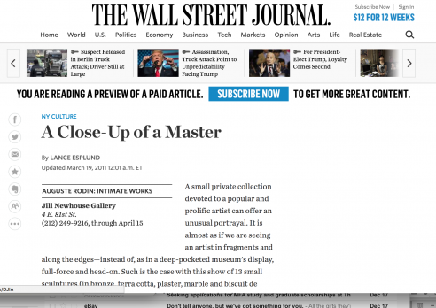 Review on The Wall Street Journal: A Close-Up of a Master, March 2011
