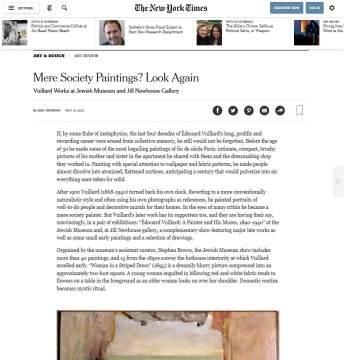 Review in the New York Times: Mere Society Paintings? Look Again: Vuillard Works at Jewish Museum and Jill Newhouse Gallery, May 2012
