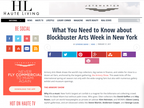 Mention in HauteLiving: What You Need to Know about Blockbuster Arts Week in New York, February 2017