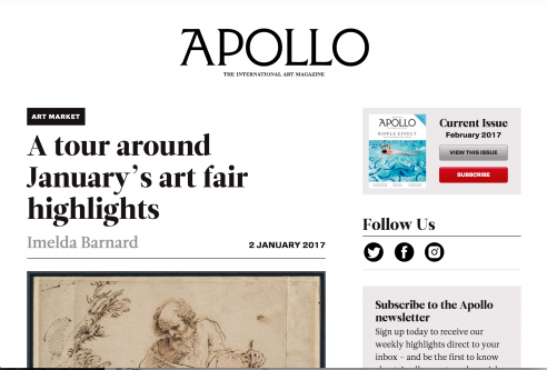 Mention in Apollo: A tour around January's art fair highlights, January 2017