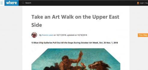 Review on WHERE: 13 Blue-Chip Galleries Pull Out All the Stops During October Art Week, Oct. 25-Nov. 1, 2018