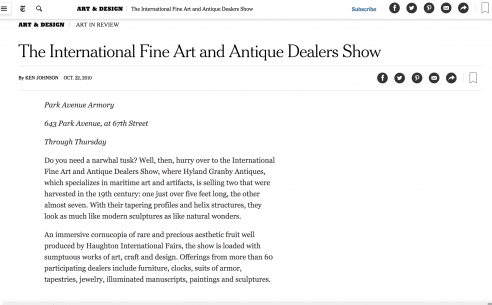 Mention in the New York Times: International Fine Art and Antique Dealers Show, October 2009