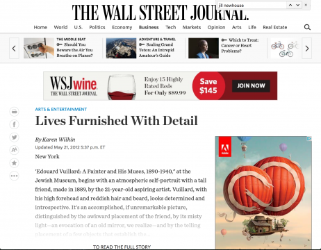Review in the Wall Street Journal: Lives Furnished With Detail, May 2012