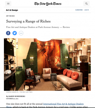 Review in the New York Times: Surveying A Range of Riches, October 2011