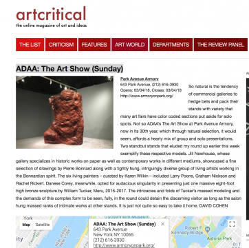 Mention on Artcritical: Drill Hall Delectations: The Art Show at the Armory, March 2018