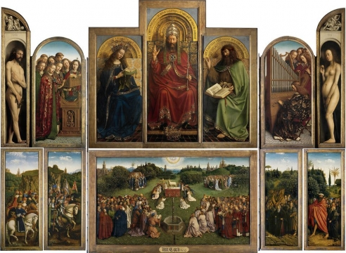 Artist installs mirror into panel of famous Ghent Altarpiece for new project