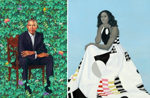 Obama Portraits Blend Paint and Politics, and Fact and Fiction