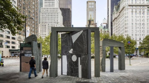 These massive mosaic sculptures are now standing just outside Central Park