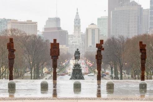Artist Antony Gormley discusses sculpture installation at Rocky Steps