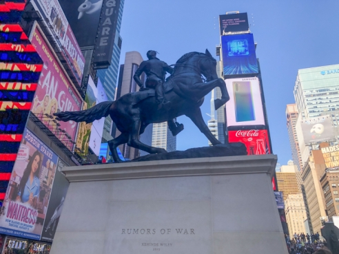 In Times Square, Kehinde Wiley Unveils a Massive Monument to Black Identity