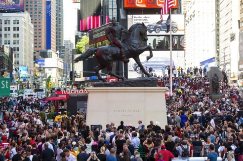 'Rumors of War' statue makes Times  Square debut, provides a response to Confederate monuments in its future home of Richmond, Va