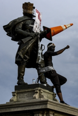 Monuments Across the United States Re-Emerged as Targets of  Rage Over a Weekend of Widespread Protest