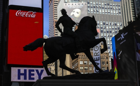Artist Kehinde Wiley unveils bold sculpture in Times Square