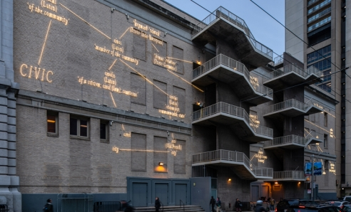 Neon Mural by Acclaimed Artist Joseph Kosuth Lights Up Bill Graham Auditorium