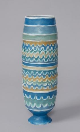 Barrel Urn with Waves