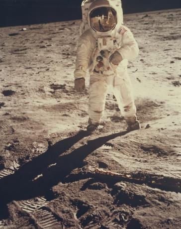 Aldrin Walking Toward Armstrong