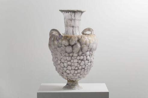 Large Purple Vessel with Yellow