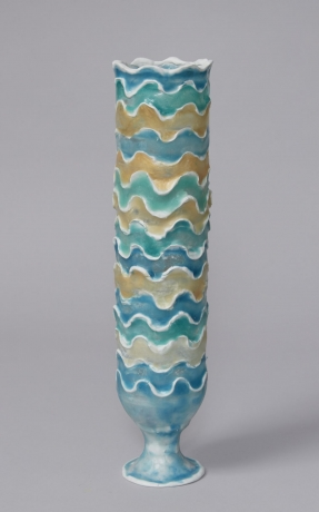 Urn with Blue, Green and Gold Waves